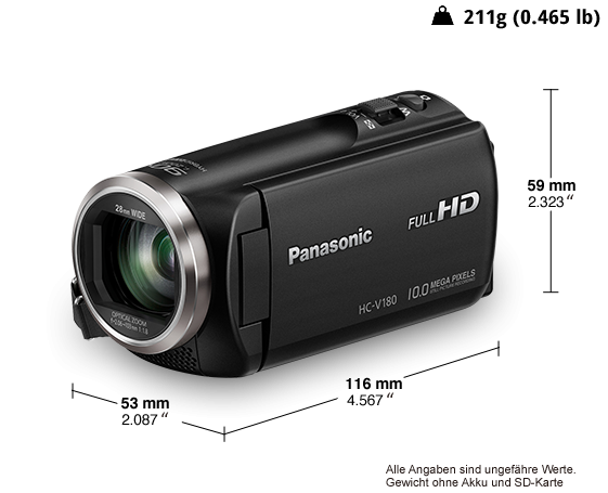 Panasonic HC-V180EG-K sw FHD Videokamera