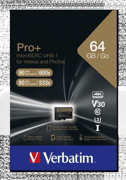 Verbatim microSDXC-Card 64GB PRO+ 44034
